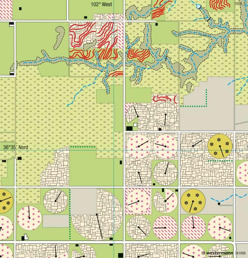 Texhoma (Oklahoma) | Farmwirtschaft | USA - Landnutzung im Mittelwesten | Karte 220/3