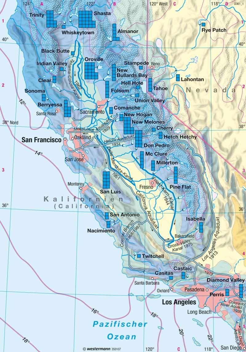 Diercke Weltatlas Kartenansicht Kalifornien Wasserwirtschaft