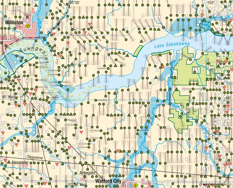 Bakken-Formation (North Dakota)   Fracking   USA - Landnutzung im Mittelwesten   Karte 220/4