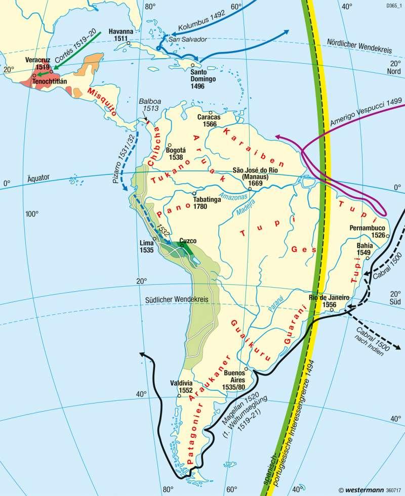 Mittel- und Südamerika | Entdeckungszeitalter | Mittel- und Südamerika - Staaten | Karte 228/1