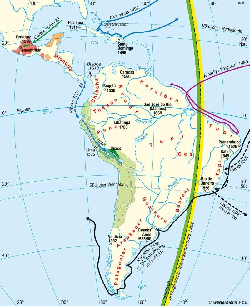Mittel- und Südamerika   Entdeckungszeitalter   Staaten   Karte 160/1