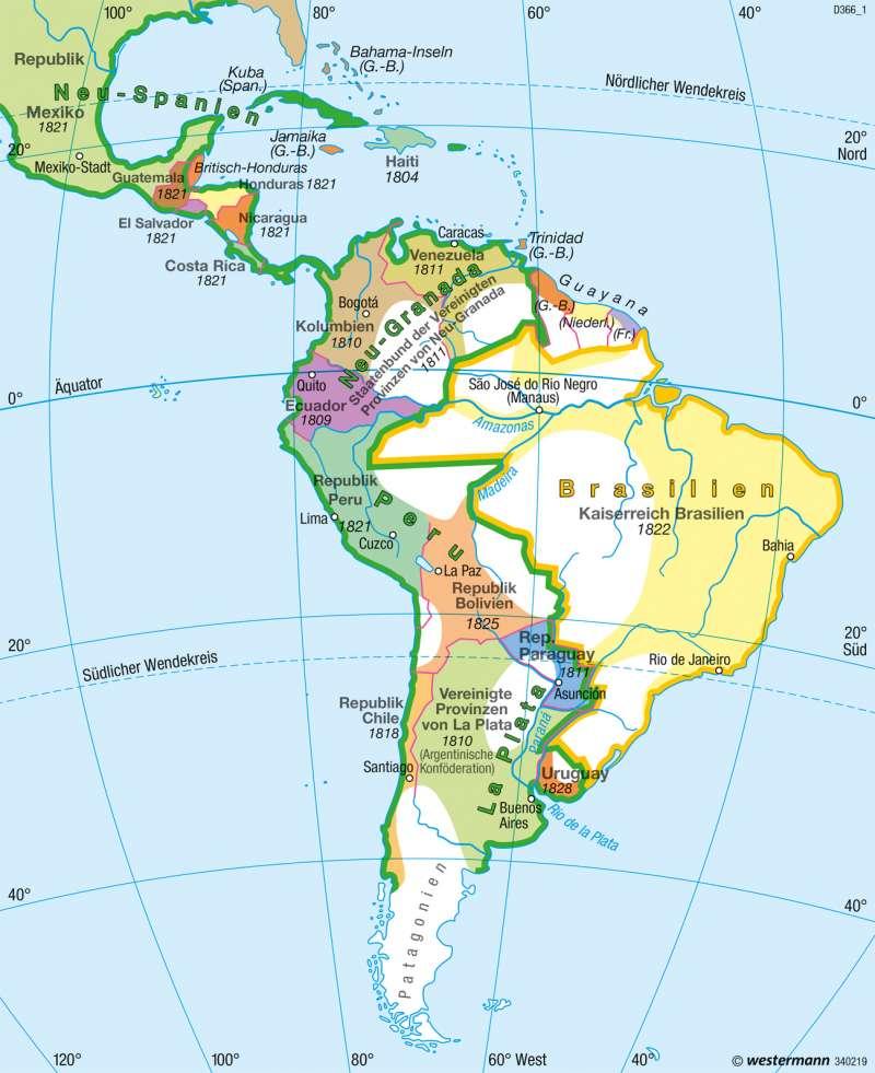 Mittel- und Südamerika   Nationalstaaten um 1825 (Ende der Befreiungskriege)   Staaten   Karte 160/2