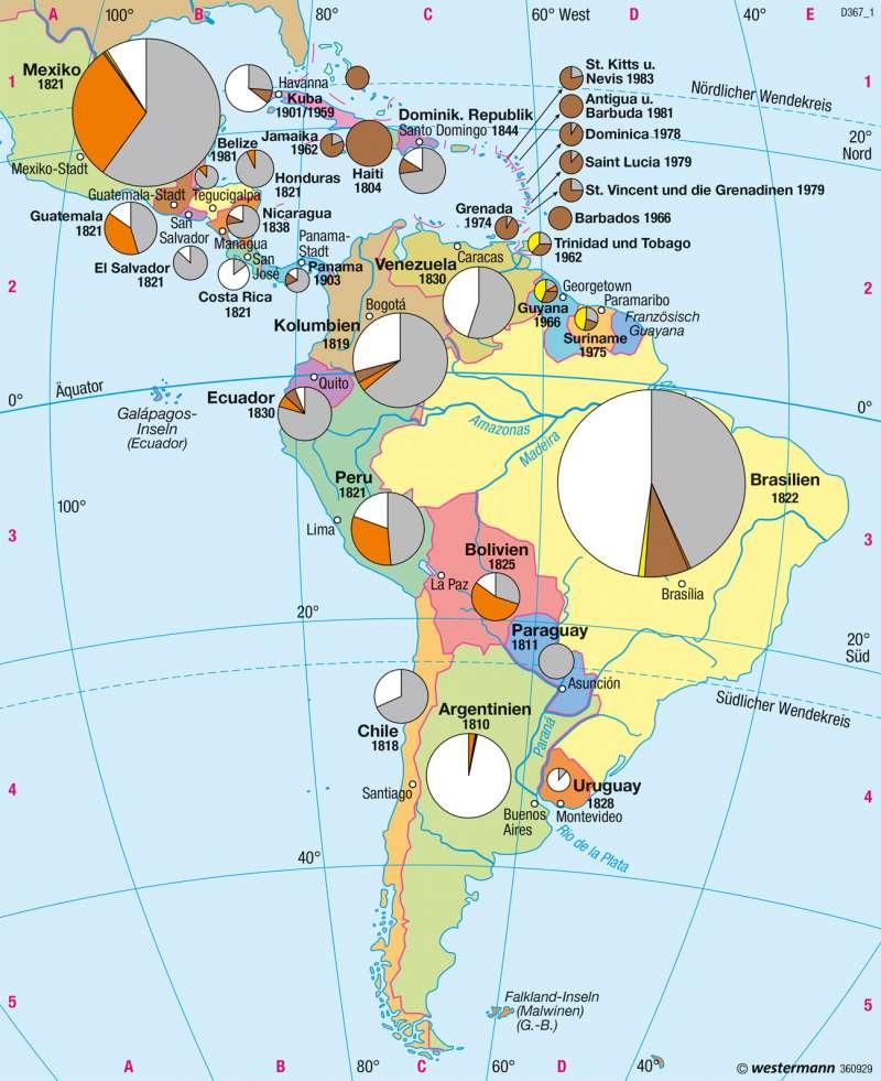 Mittel- und Südamerika | Staaten und Bevölkerungsgruppen | Mittel- und Südamerika - Staaten | Karte 228/3