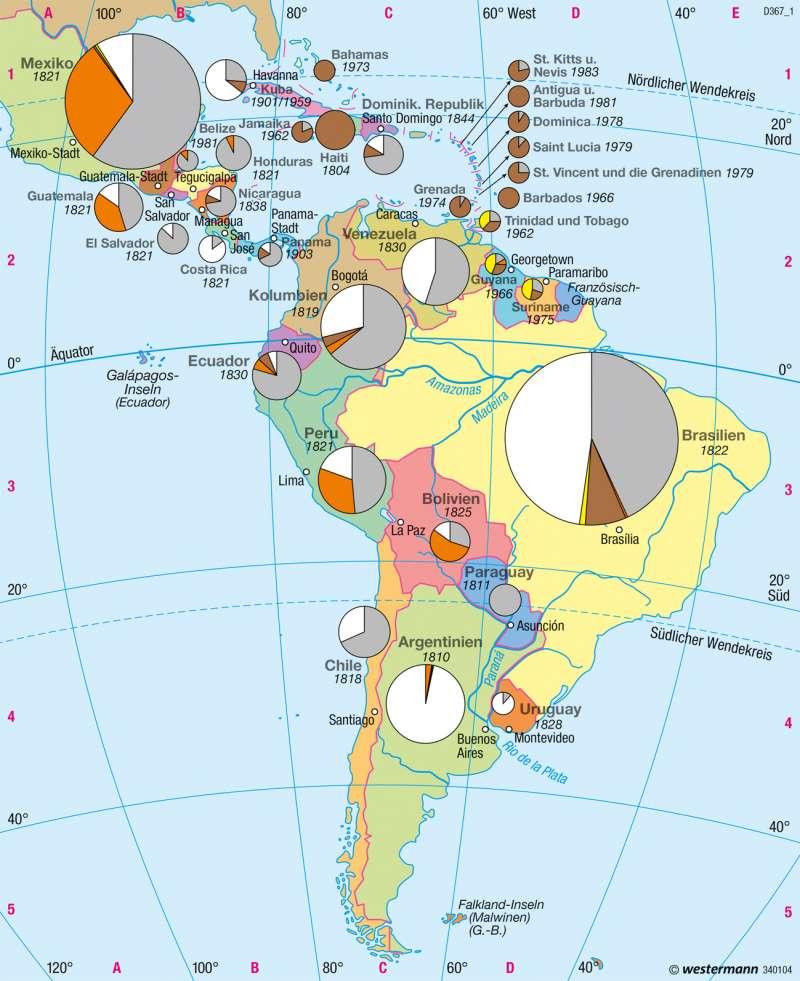 Mittel- und Südamerika | Staaten und Bevölkerungsgruppen | Staaten | Karte 160/3