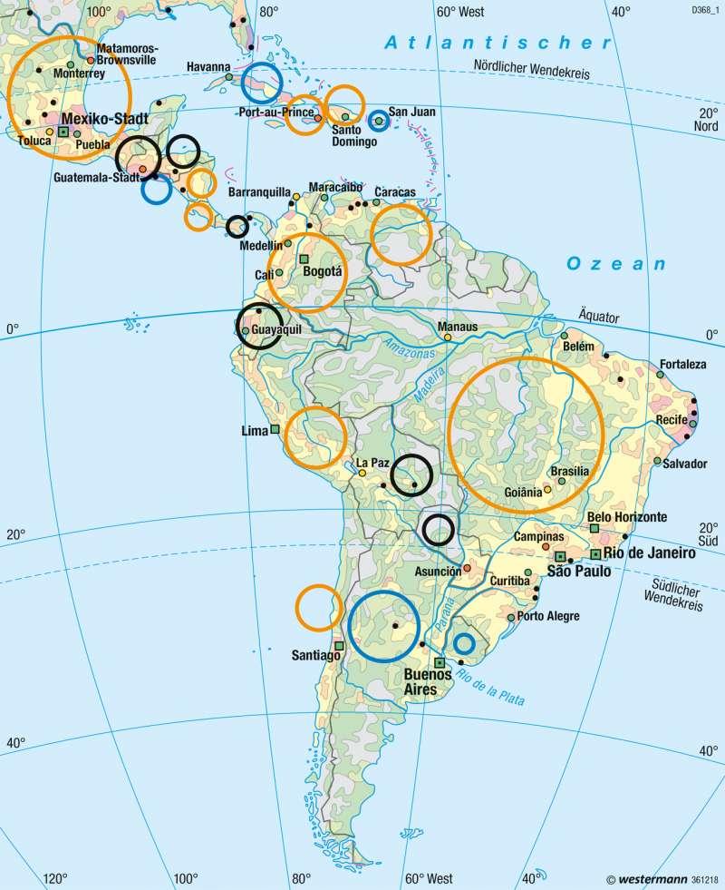 Mittel- und Südamerika | Bevölkerung | Mittel- und Südamerika - Staaten | Karte 228/4