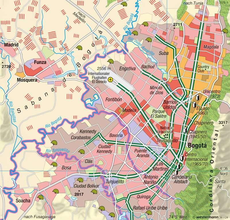 Bogotá | Sozialstruktur und Wohnqualität | Kolumbien, Venezuela - Räumliche Disparitäten | Karte 229/6