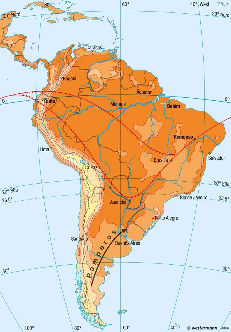 Südamerika | Temperaturen im Januar | Südamerika - Klima | Karte 234/1