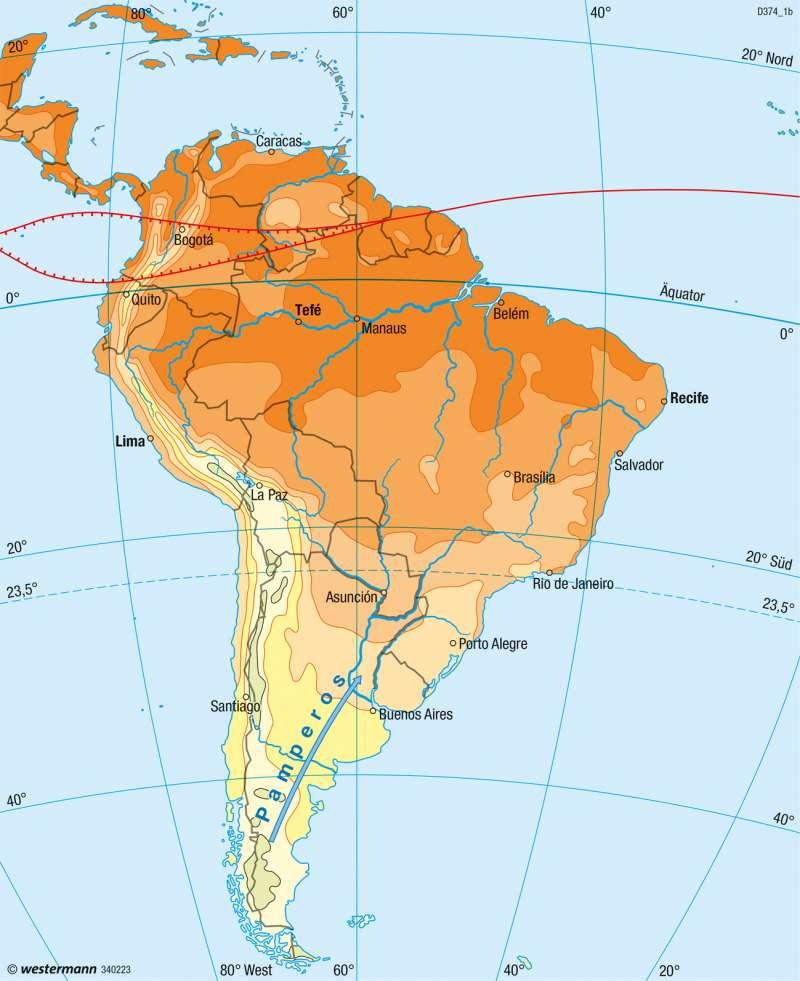 Mittel- und Südamerika | Temperaturen im Juli | Klima | Karte 167/4