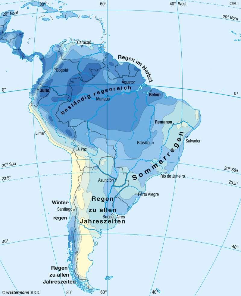 Südamerika   Niederschläge im Jahr   Südamerika - Klima   Karte 234/3