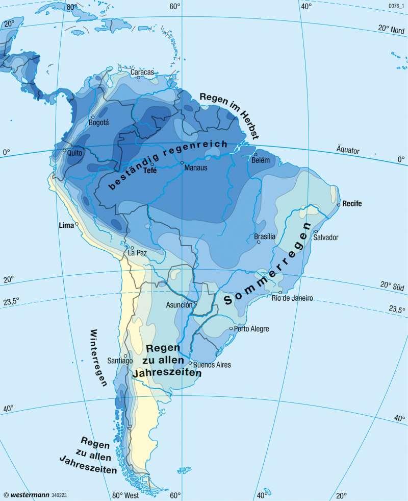 Mittel- und Südamerika | Niederschläge im Jahr | Klima | Karte 167/5