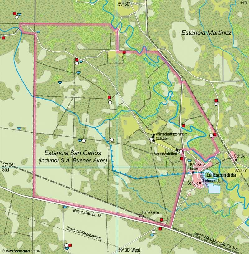 Gran Chaco (Argentinien)   Estancia   Südamerika - Intensive und extensive Landwirtschaft   Karte 235/7