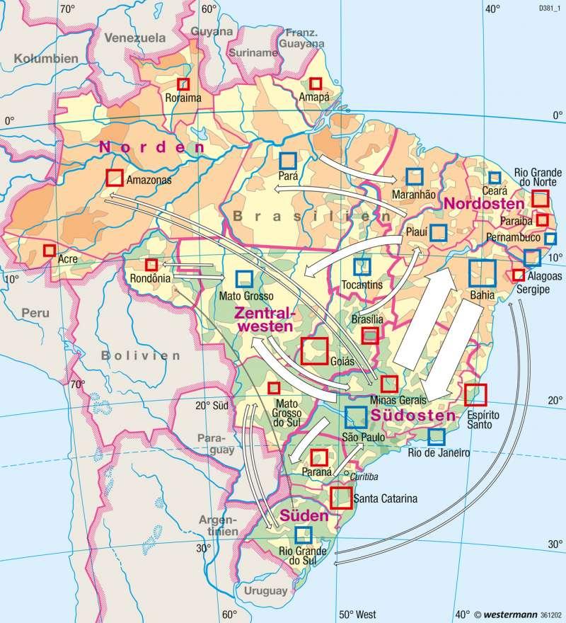 Brasilien | Regionale Entwicklungsunterschiede | Brasilien - Entwicklung und Nachhaltigkeit | Karte 236/1