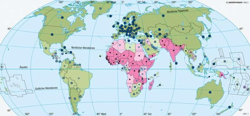 Erde | Bildung | Entwicklungsstand der Staaten | Karte 191/4