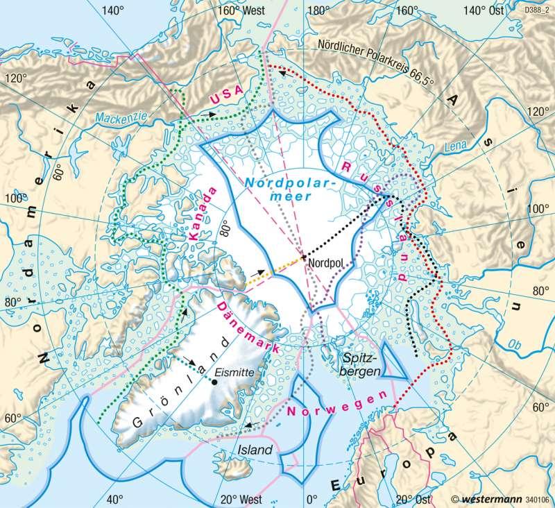 Diercke Weltatlas - Kartenansicht - Arktis - Nordpol-Entdeckung ...