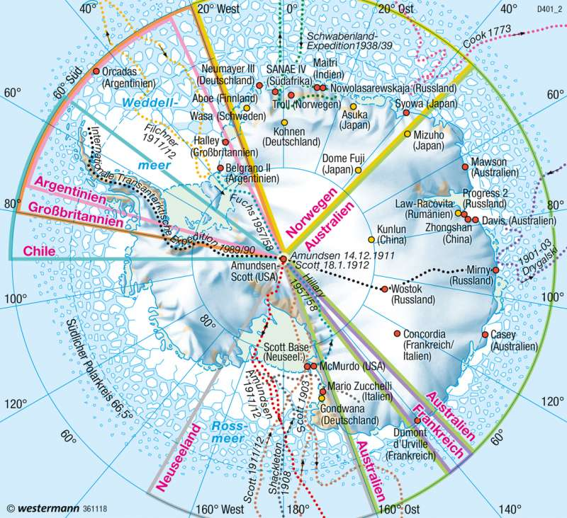 Antarktis | Hoheitsansprüche/Forschung | Polargebiete | Karte 239/6