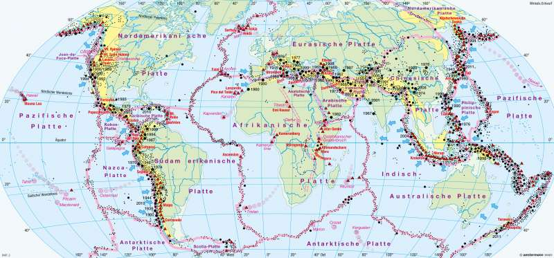 Erde | Erdbeben und Vulkanismus | Erde - Erdgeschichte, Tektonik, Vulkanismus | Karte 242/3