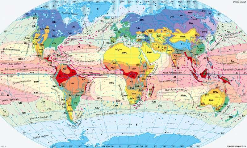 | Klimate der Erde nach W. Köppen und R. Geiger (1961) | Erde - Klima (effektive Gliederung) und Niederschläge | Karte 247/2