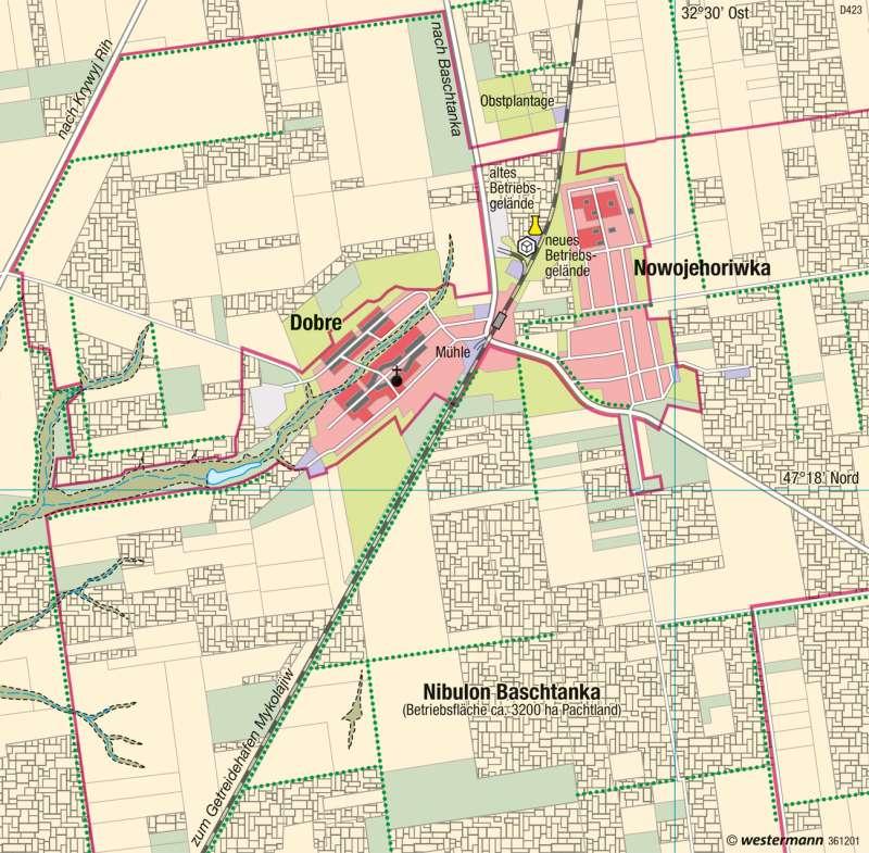 Dobre (Ukraine) | Agrargroßbetrieb | Osteuropa - Wirtschafts- und Siedlungsstrukturen | Karte 145/4