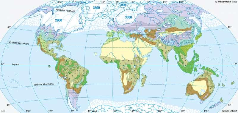 Erde | Vegetation zur letzten Kaltzeit (vor 18000 Jahren) | Erde - Potenzielle natürliche Vegetation | Karte 258/2