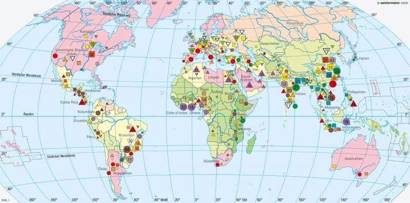 Erde | Nahrungsgüter und Beschäftigte in der Landwirtschaft | Erde - Agrarwirtschaft und Fischerei | Karte 262/1