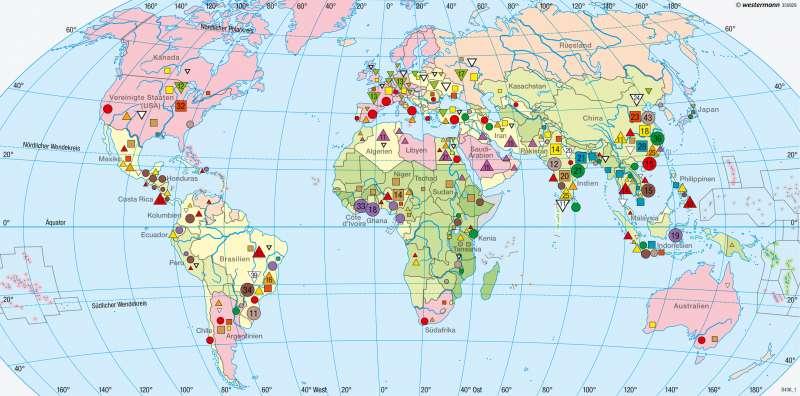 Erde | Nahrungsgüter und Beschäftigte in der Landwirtschaft | Agrarwirtschaft und Fischerei | Karte 180/1
