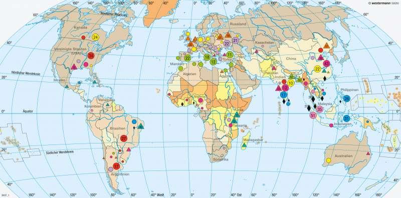 Erde | Agrarrohstoffe, Wirtschaftsfaktor Landwirtschaft | Erde - Agrarwirtschaft und Fischerei | Karte 262/2