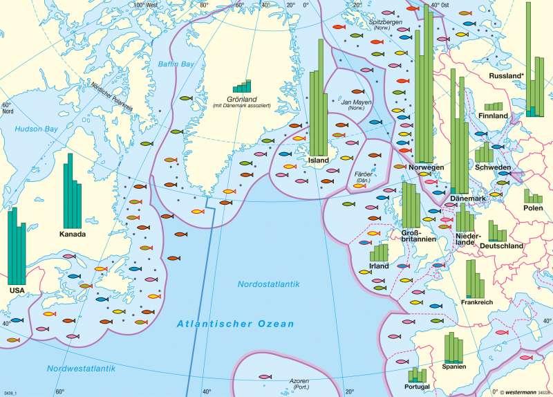 Nordatlantik | Fischfang | Agrarwirtschaft und Fischerei | Karte 181/4