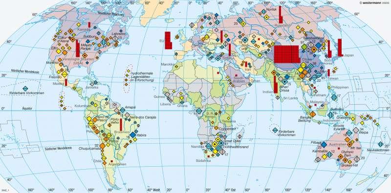Erde   Metallische Rohstoffe/Rohstoffabhängigkeit   Erde - Energie und Umwelt   Karte 265/3