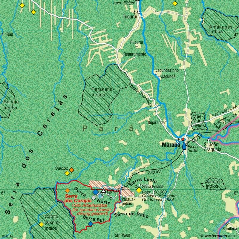 Serra dos Carajás (Brasilien) | Rohstofferschließung | Erde - Energie und Umwelt | Karte 265/4