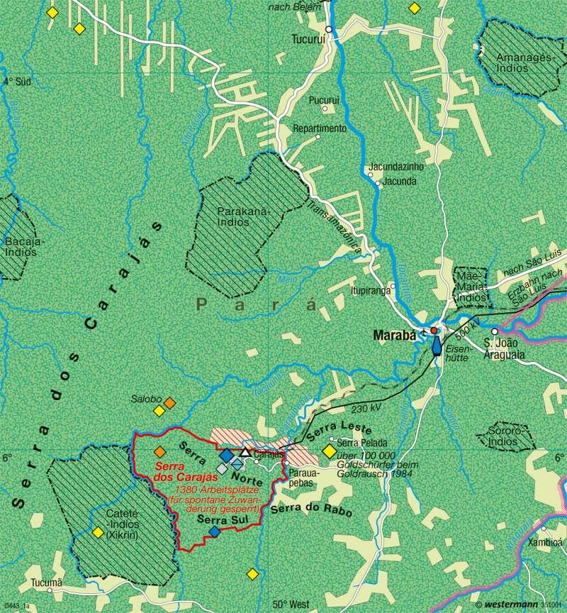 Serro dos Carajás (Brasilien) | Rohstofferschließung | Tropischer Regenwald | Karte 166/2