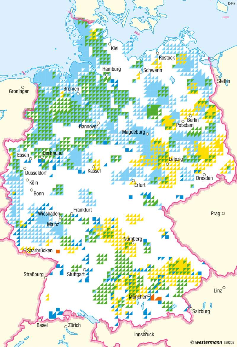 Deutschland | Energielandschaften (Konzentration erneuerbarer Energien) | Deutschland - Regenerative Energien und Nachhaltigkeit | Karte 68/4