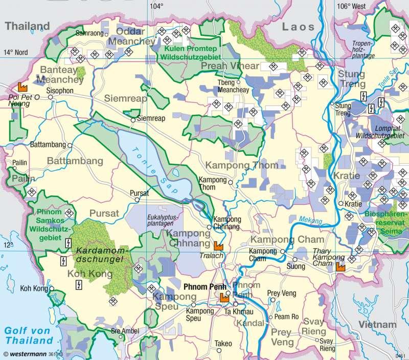 Kambodscha Karte.Diercke Weltatlas Kartenansicht Kambodscha