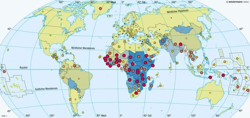 Erde | Gesundheit | Erde - Entwicklungsstand der Staaten | Karte 275/5