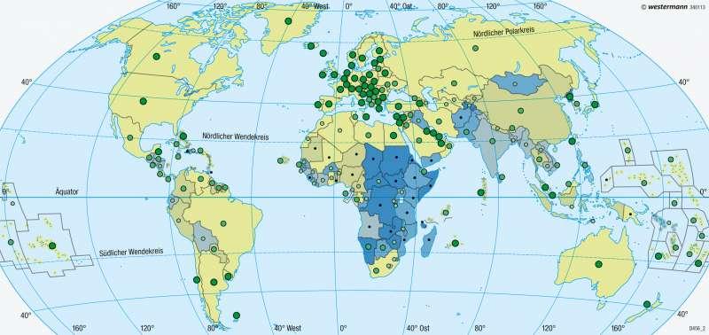 Erde | Gesundheit | Entwicklungsstand der Staaten | Karte 191/5