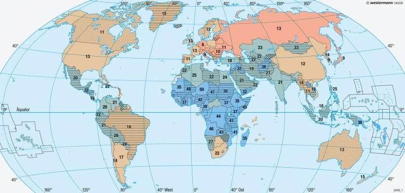 Erde | Bevölkerungsentwicklung | Bevölkerung | Karte 192/3