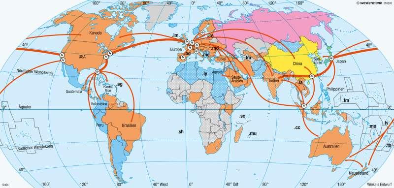 Erde | Vernetzte Welt | Erde - Staaten, Internet, Zeitzonen | Karte 282/2