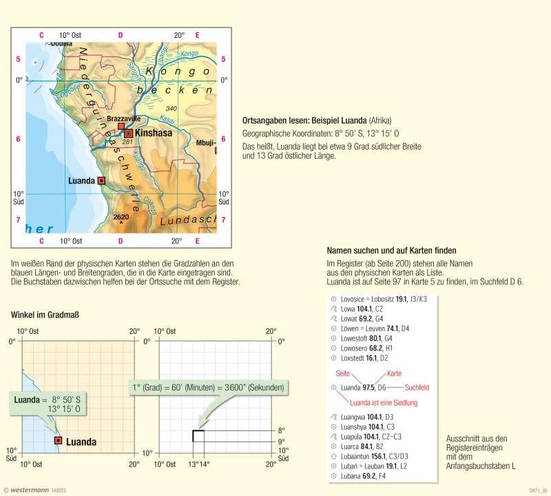 Orientierung auf Karten und im Atlas – Ortsangaben und Register |  | Gradnetz und Orientierung | Karte 8/2