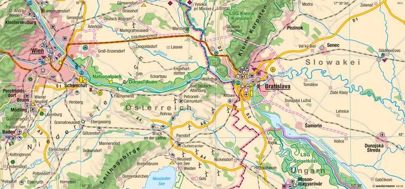 Wien-Bratislava | Wandel der Grenzregion | Mitteleuropa - Transformation und EU-Integration | Karte 113/3