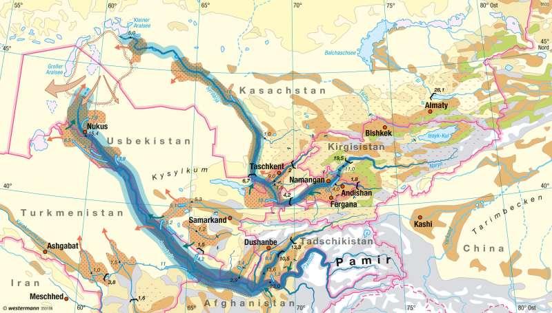 Zentralasien | Wasserhaushalt | Nord- und Zentralasien - Räume im Wandel | Karte 173/4
