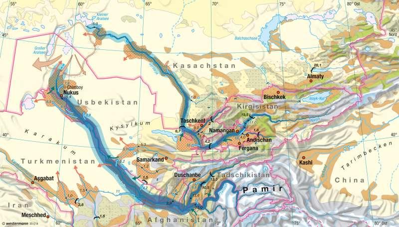 Zentralasien | Wasserhaushalt | Räume im Wandel | Karte 120/1