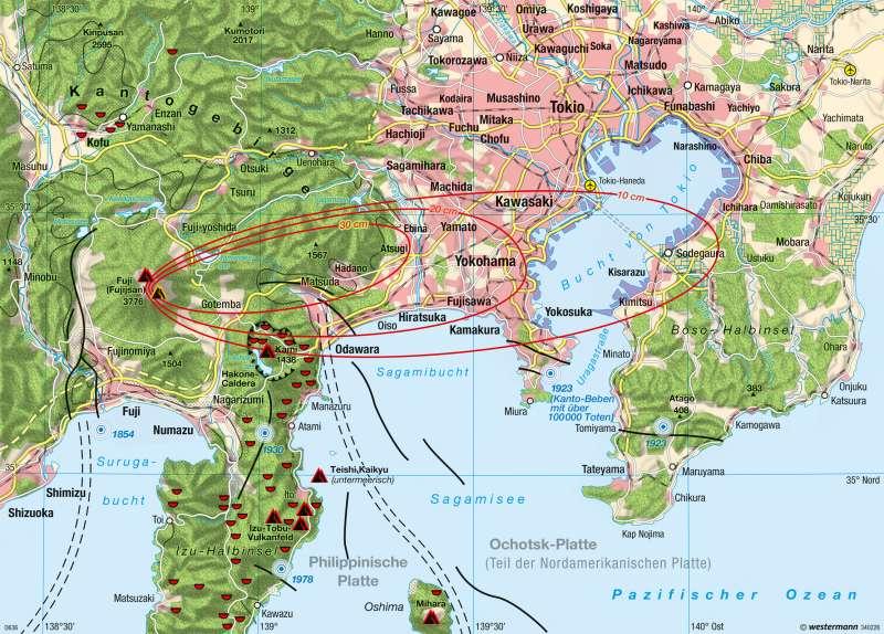Tokio | Gefährdete Megalopolis am Fuji | Tokio und Naturgefahren | Karte 133/4