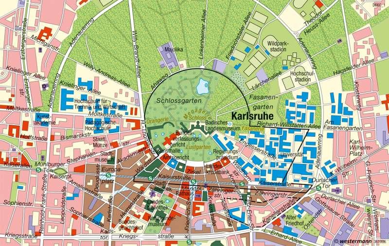 Diercke Weltatlas Kartenansicht Karlsruhe Barocke