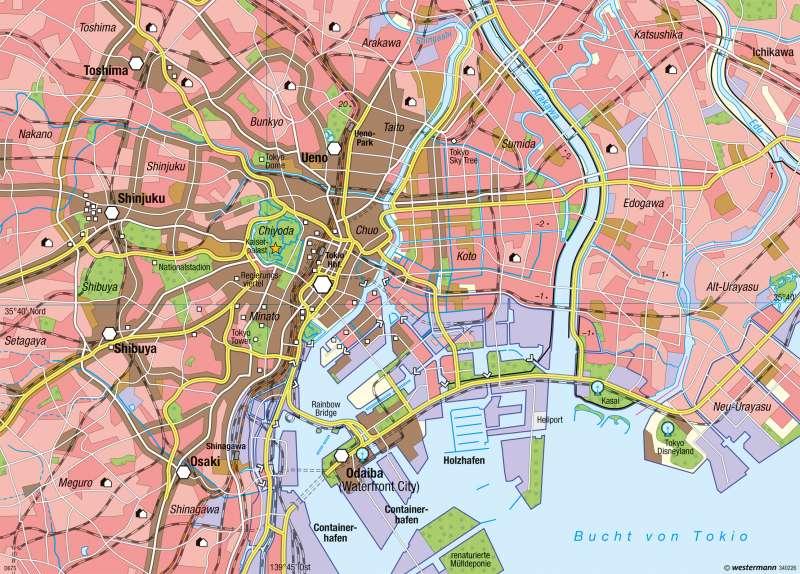 Tokio | Stadtzentrum und citynahes Neuland | Tokio und Naturgefahren | Karte 133/5