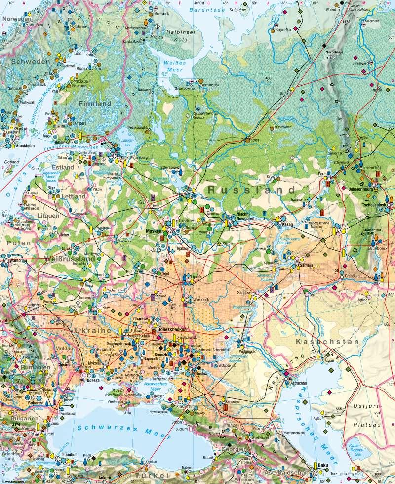 Osteuropa | Wirtschaft | Osteuropa - Wirtschafts- und Siedlungsstrukturen | Karte 144/1
