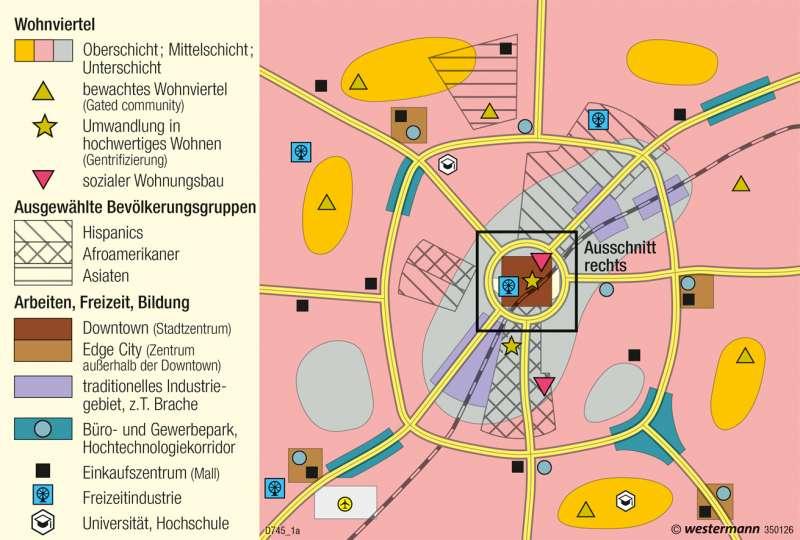 | Strukturmodell der nordamerikanischen Stadt | USA - Nordamerikanische Stadt | Karte 222/1