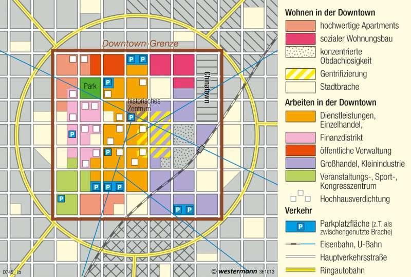   Strukturmodell der nordamerikanischen Stadt   USA - Nordamerikanische Stadt   Karte 222/1