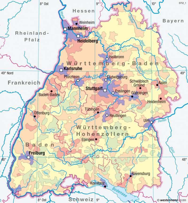 Baden-Württemberg | Bevölkerungsdichte | Verwaltung und Bevölkerung | Karte 21/2