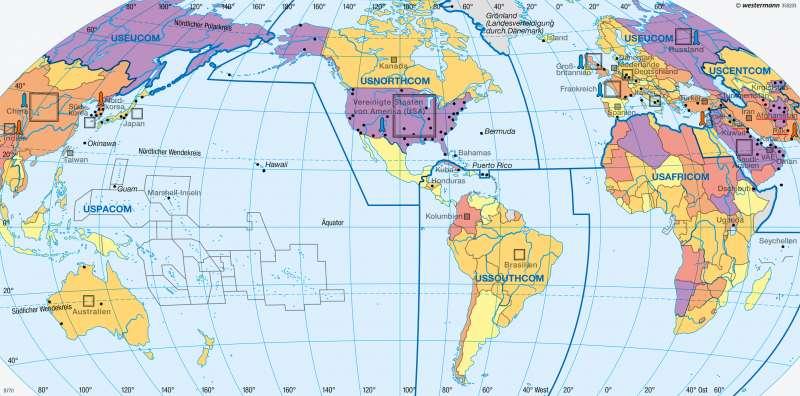 Erde | Militärmacht USA | Erde - Geopolitik | Karte 281/3