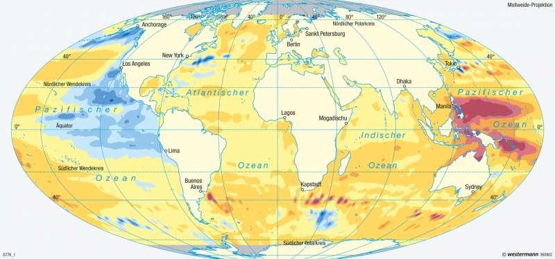 Weltmeere | Meeresspiegeländerung | Erde - Klimadynamik und Weltmeere | Karte 251/6