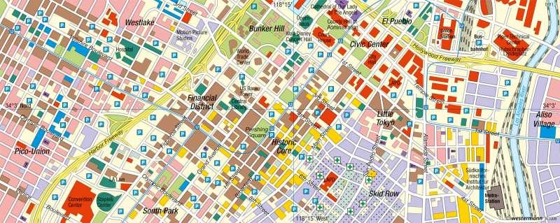 Los Angeles   Downtown   USA - Nordamerikanische Stadt   Karte 222/3